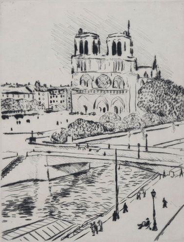 Los 39 - Albert Marquet Notre-Dame et le quai Saint Michel, 1927 Etching, dry point Sheet [...]