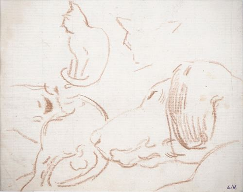 Los 35 - Louis VALTAT Resting Cat and Dog Original drawing Signed bottom right with the [...]