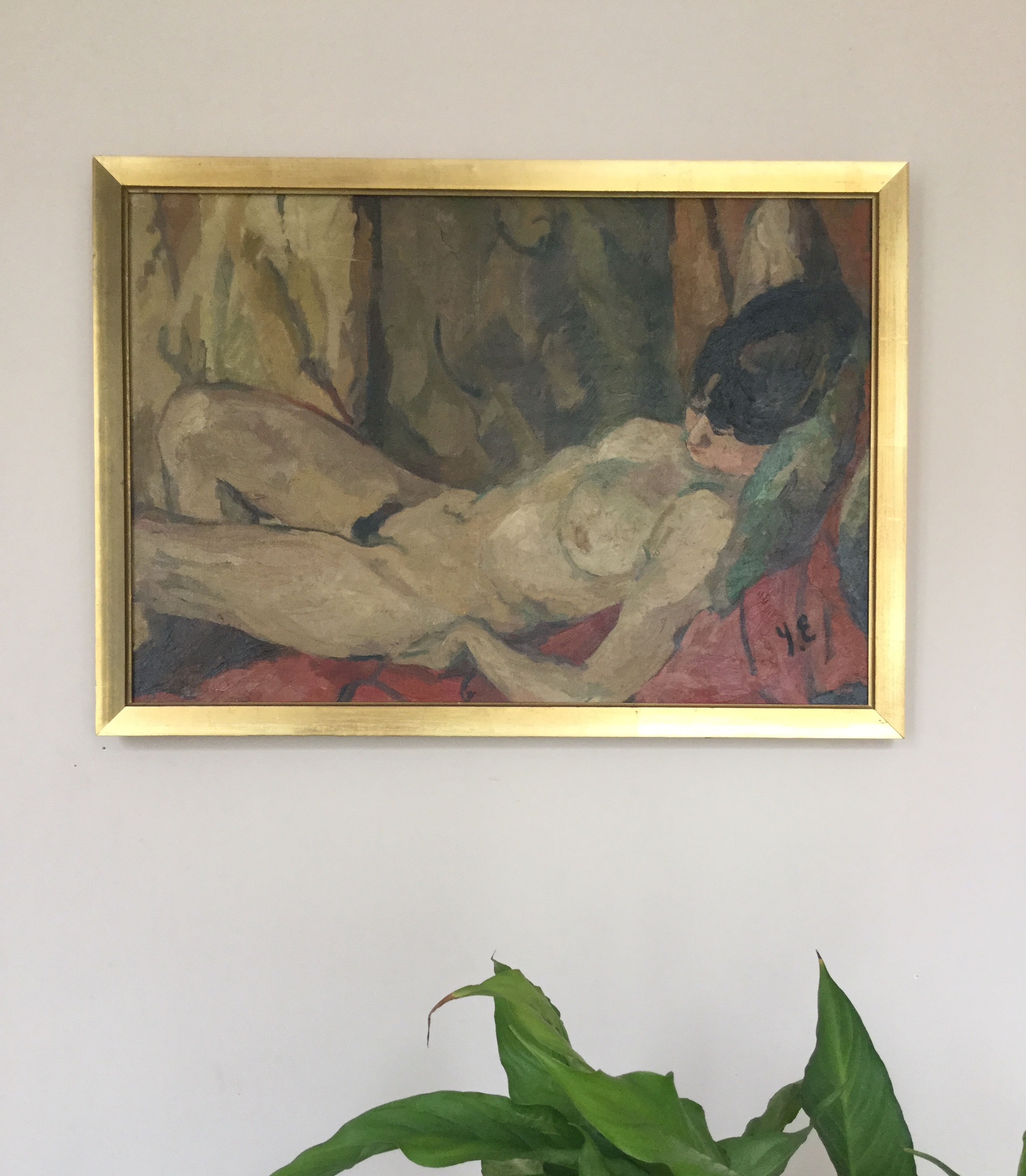 Los 45 - 20th c french School Nude lying down Oil on canvas Monogrammed YE bottom right [...]