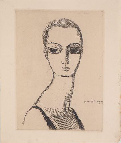 Los 54 - Kees VAN DONGEN Woman with Swan Neck, 1925 Original engraving on old Japan [...]