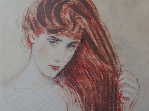 Los 23 - Paul César HELLEU Redhead Woman Stencilled lithograph Signed in the plate On Vellum [...]