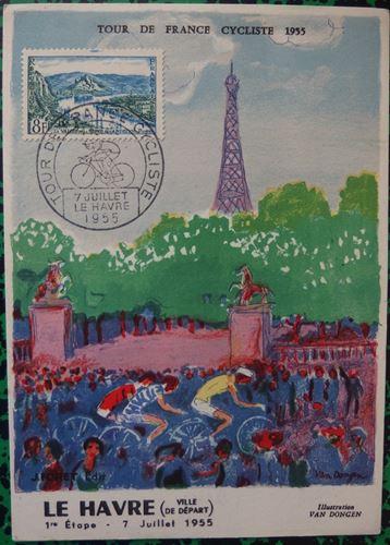 Los 55 - Kees VAN DONGEN The arrival of the Tour de France 1955 Lithograph on Vellum [...]