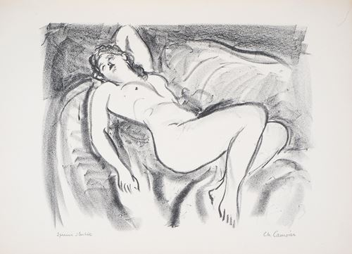 Los 47 - Charles CAMOIN Naked woman on a sofa Lithograph on Vellum paper Signed in [...]