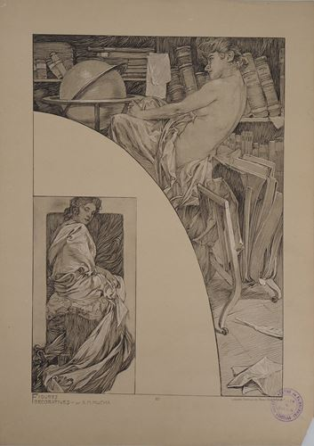 Los 3 - Alphonse MUCHA Model in the library, 1902 Lithograph Signed in the plate On thick [...]