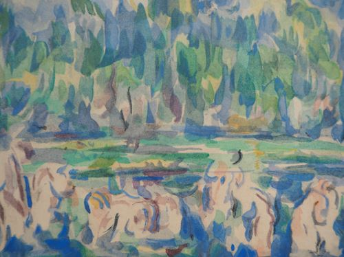 Los 37 - Paul CEZANNE (after) Baigners on the edge of the lake Lithograph and stencil Based [...]
