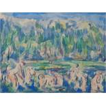 Paul CEZANNE (after) Baigners on the edge of the lake Lithograph and stencil Based [...]