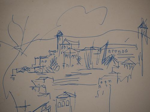 Los 53 - Jean Dufy Spain: Granada, view of the old city Original drawing in blue ink Signed [...]