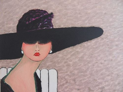 Los 24 - Ramon DILLEY (1932-) Elegant Lady with a hat in Deauville Original [...]