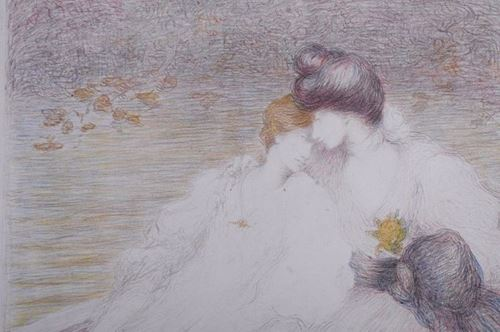 Los 17 - Louis Ridel (1866-1937) Two Young Women in a Boat Original Lithograph in colors [...]