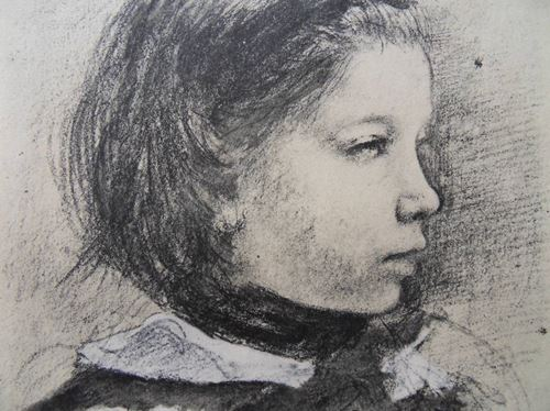 Los 31 - Edgard DEGAS (after) Young girl thinking Lithograph and stencil after a drawing [...]