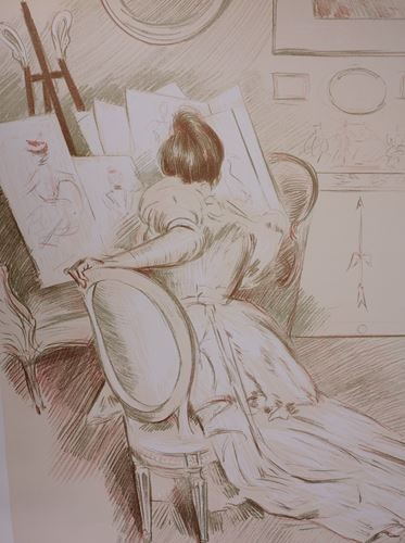Los 22 - Paul César HELLEU Woman drawing, 1901 Signed lithograph in 3 colors. Signed in the [...]