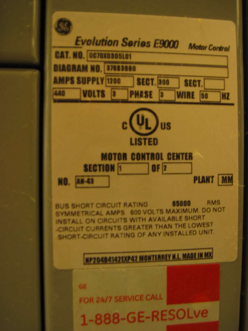 Ge Evolution Series E9000 Motor Control Center 440v 3 Phase Wiring Diagram The Schematic Lot 34