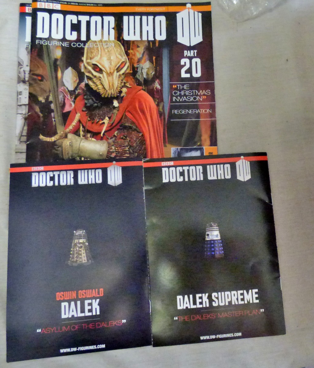 Lot 5 - Dr Who-(5) Figures + Plinth -Models-Colony Sarff ADY5764-Supreme Darlek AAB3870-Cyberman ABB2303-