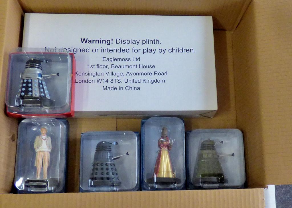 Lot 14 - Dr Who-(5) Figures + Plinth-(3) Daleks-other models-Saucer Commander 'Ironside - Genesis Dalek-
