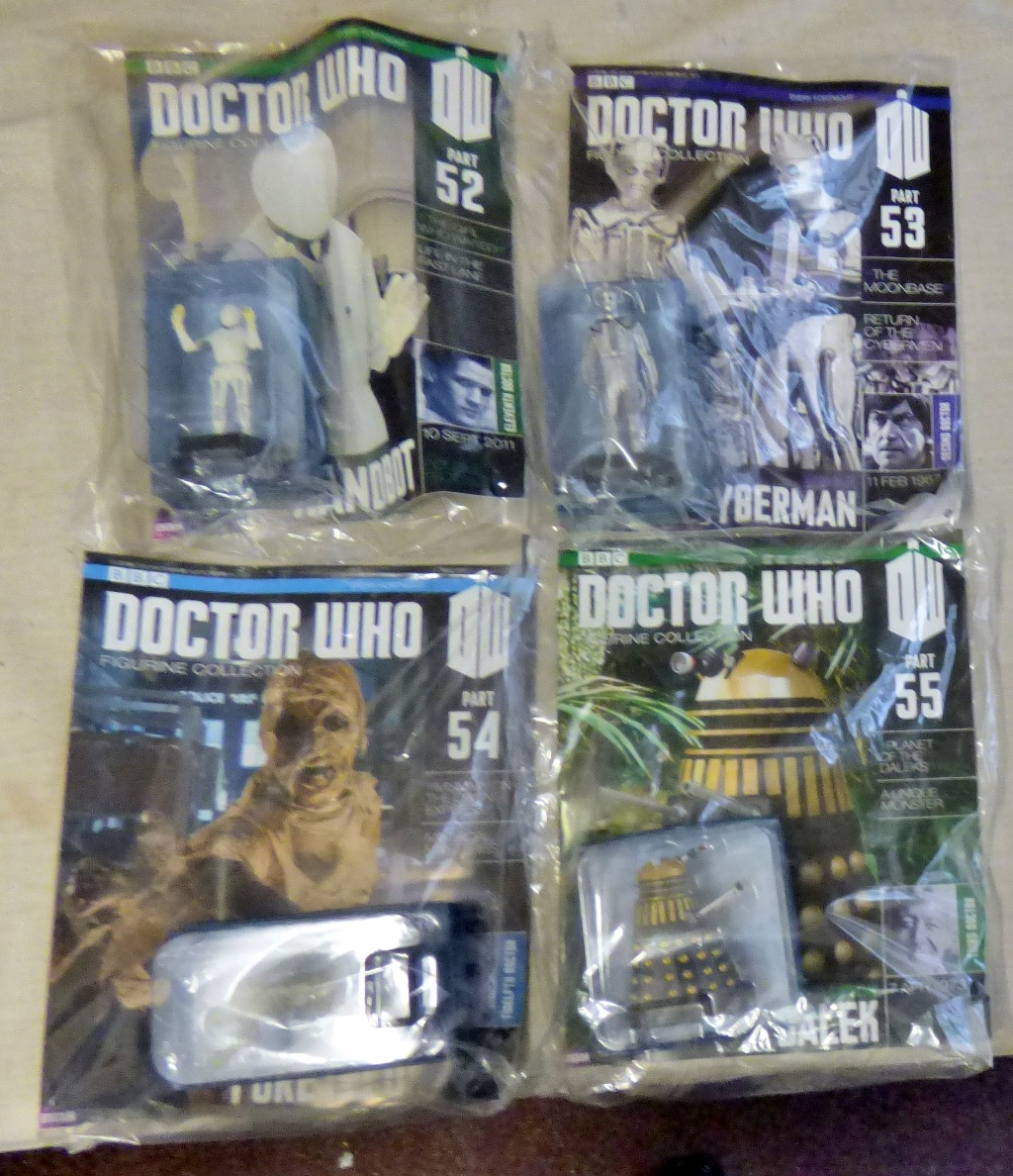 Lot 23 - Dr Who-(4) Magazines Unopened with Figures sealed - Planet of the Daleks - Mummy on the express-