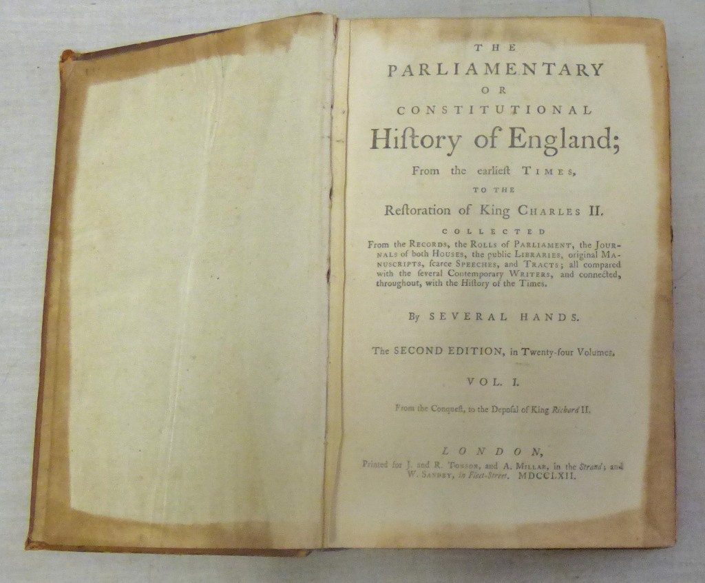 Lot 37 - The Parliamentary or Constitutional History of England; From the Earliest Times, to the