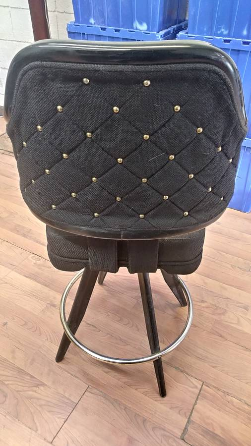 "Lot 352 - BLACK LOUNGE CHAIRS (SHORT STOOLS) W/ ARM & FOOTREST (X MONEY) (40"" TOTAL H X 24"" H FROM SEAT..)"