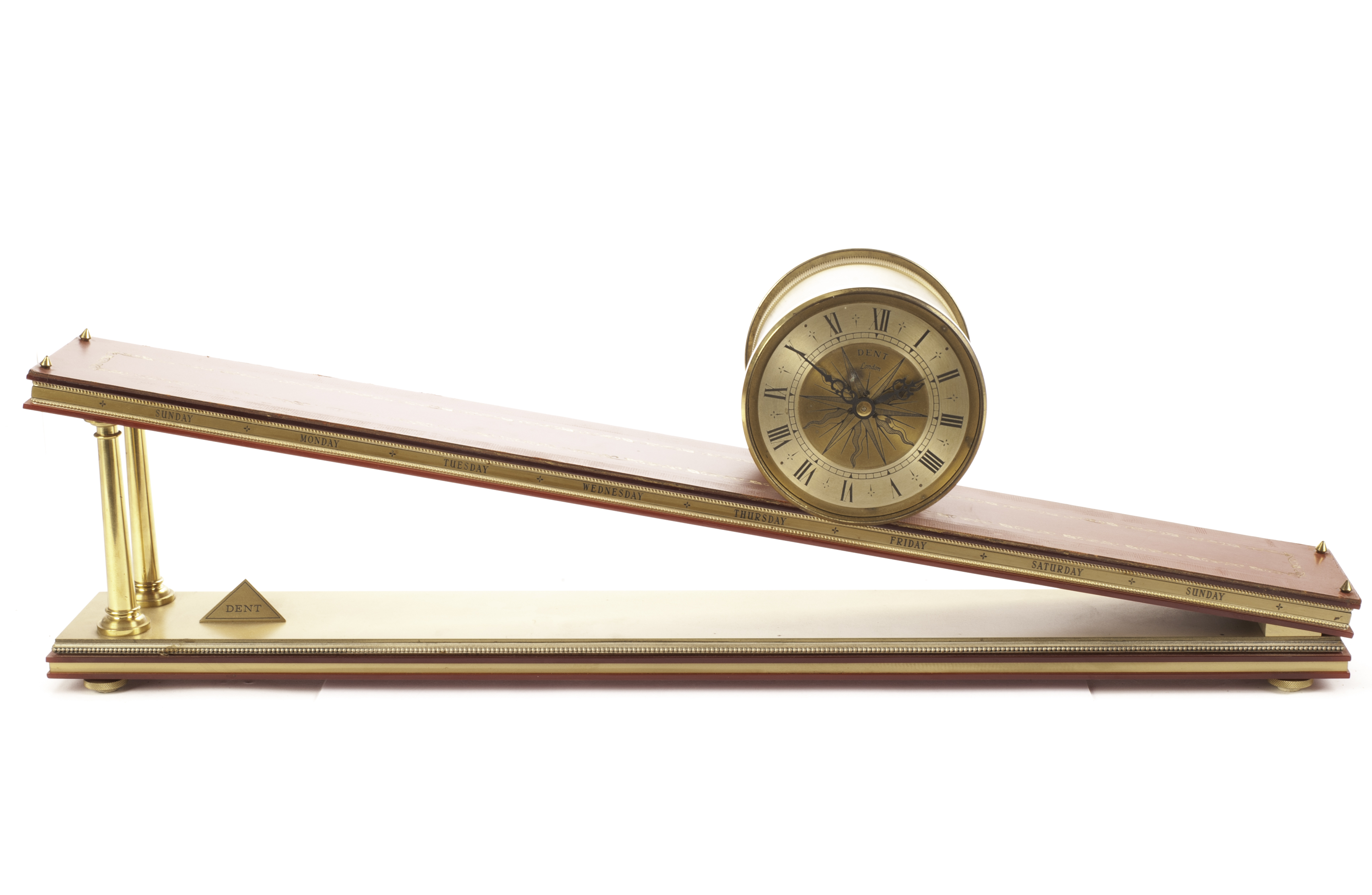 Lot 425 - A Dent of London incline gravity clock, the compass engraved brass barrel with roman numerals, wound