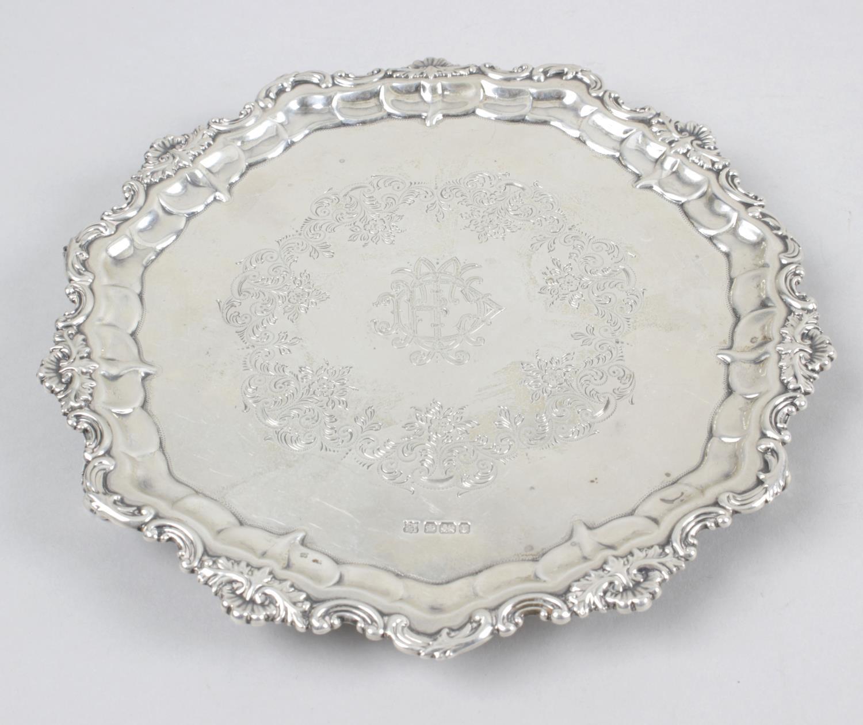 A small Edwardian silver salver,