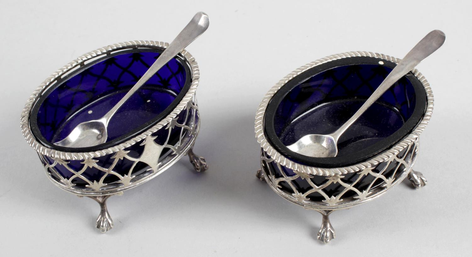 Lot 1 - A pair of George III silver open salts,
