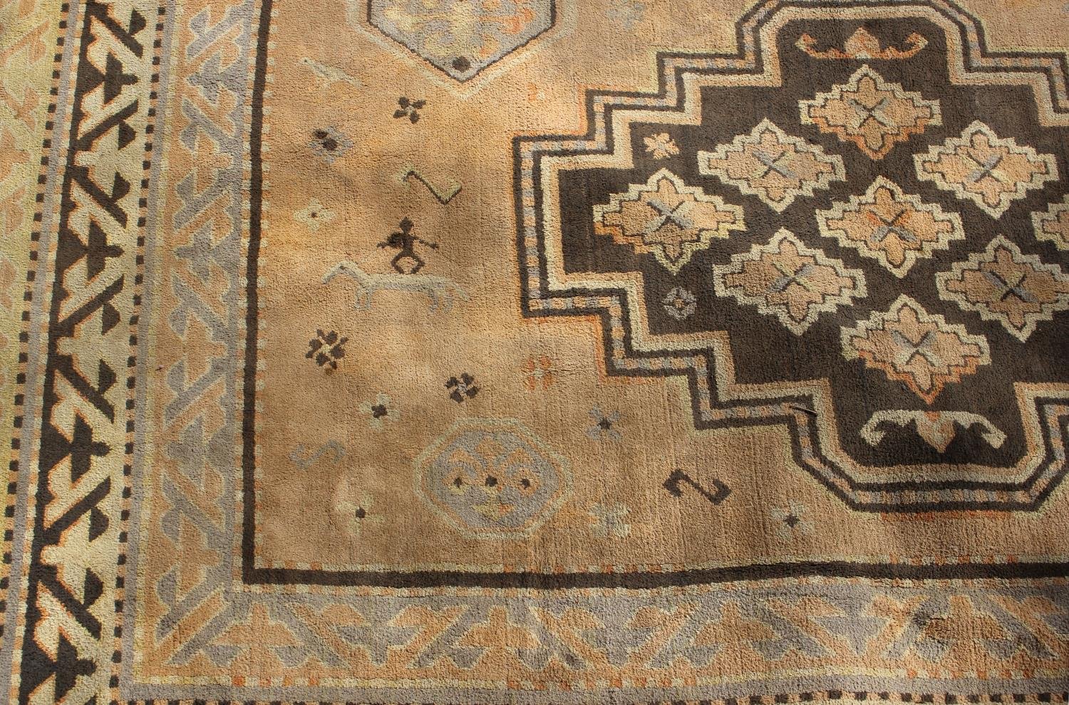 Lot 881 - Two 20th century machine woven wool work rugs,
