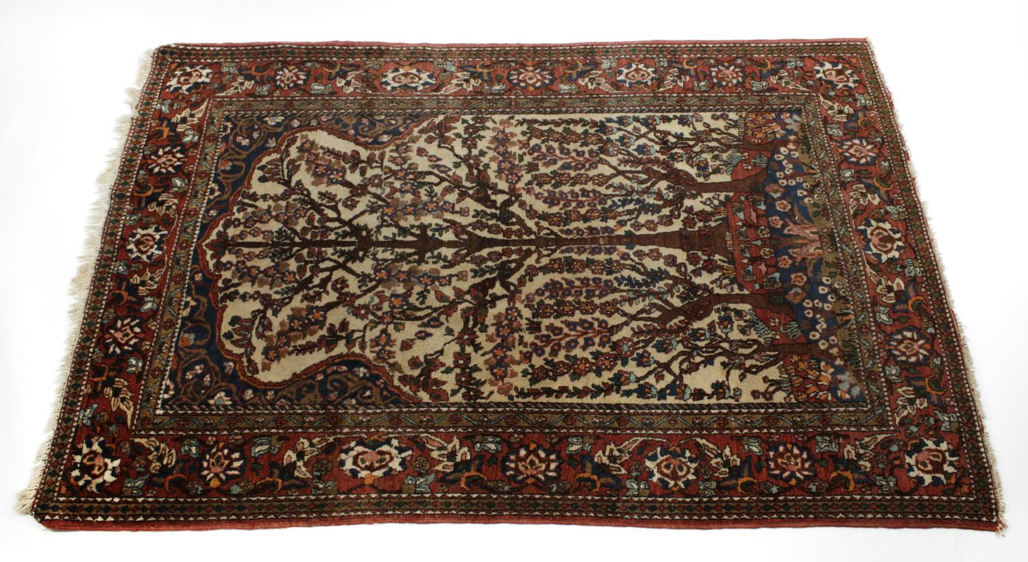 Lot 882 - An Isfahan woven wool work prayer rug,