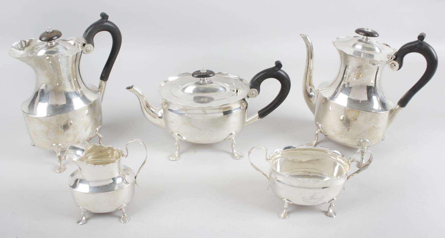 Lot 52 - A turn of the nineteenth century matched silver tea service,