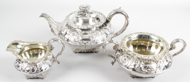 Lot 44 - A George IV silver three piece tea service,