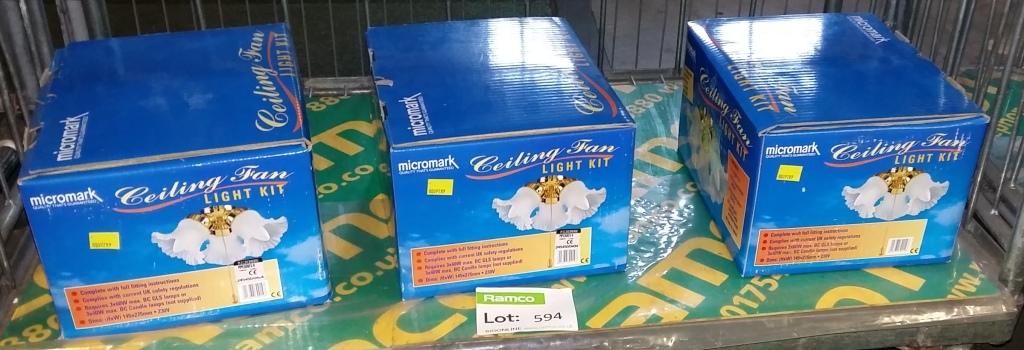3x micromark ceiling fan light kits lot 594 3x micromark ceiling fan light kits aloadofball Images