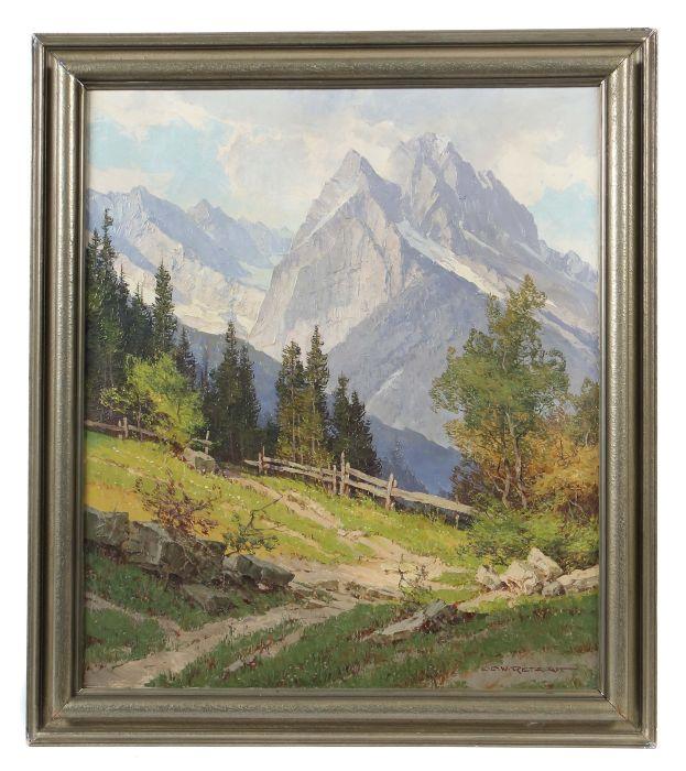 Auktionslos 2888 - Retzlaff, Ernst Karl Walter Berlin 1898 - 1976, war ein deutscher Landschaftsmaler. Bergmassiv,
