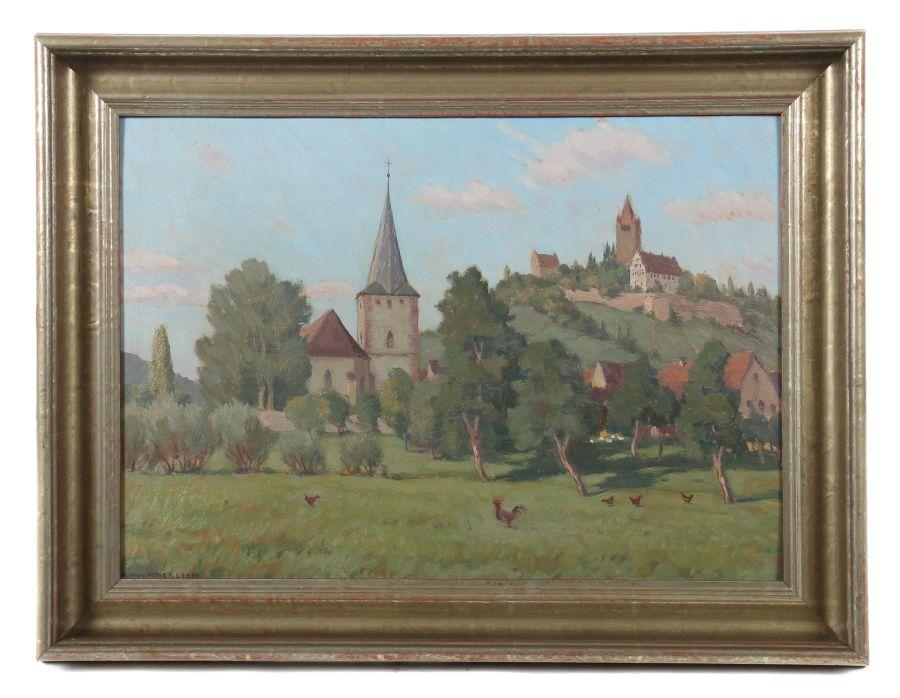 """Wunderlich, Albert 1876 - 1949, war Maler in Stuttgart. """"Schwaikheim mit Klosterberg"""", unten links - Image 2 of 3"""