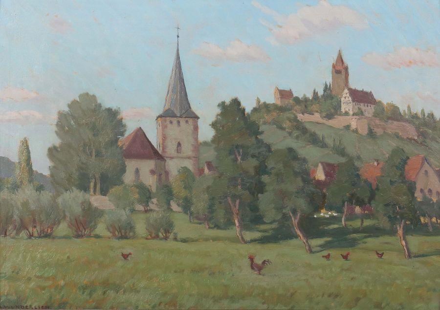 """Wunderlich, Albert 1876 - 1949, war Maler in Stuttgart. """"Schwaikheim mit Klosterberg"""", unten links"""
