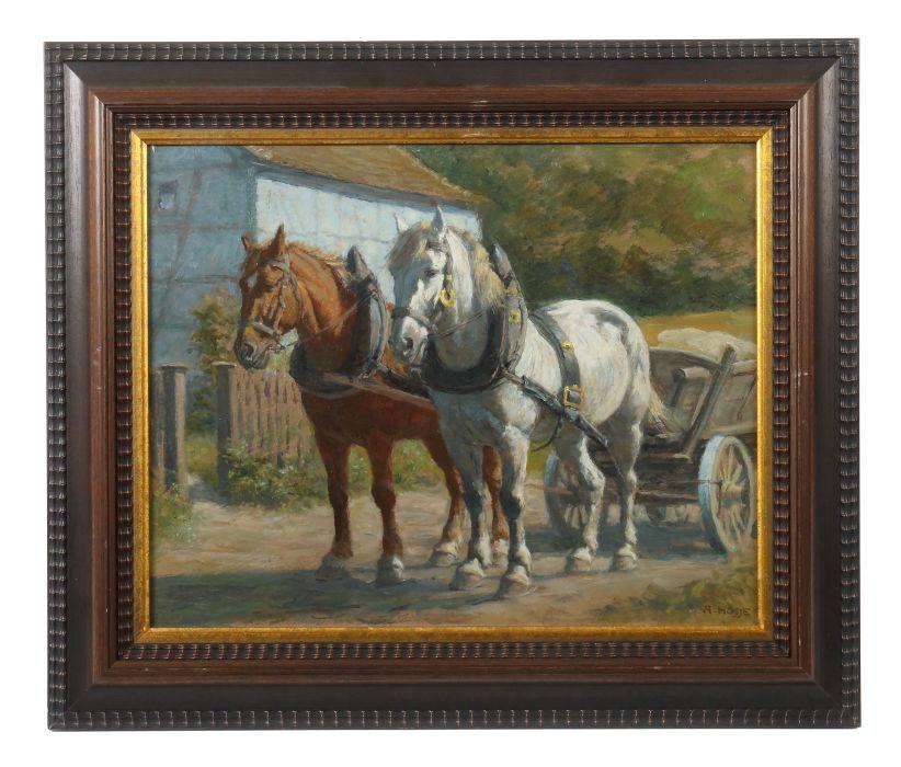 hosse adolf hanau 1875 1958 hammelburg pferdemaler pferdegespann an einem holzkarren vor de. Black Bedroom Furniture Sets. Home Design Ideas