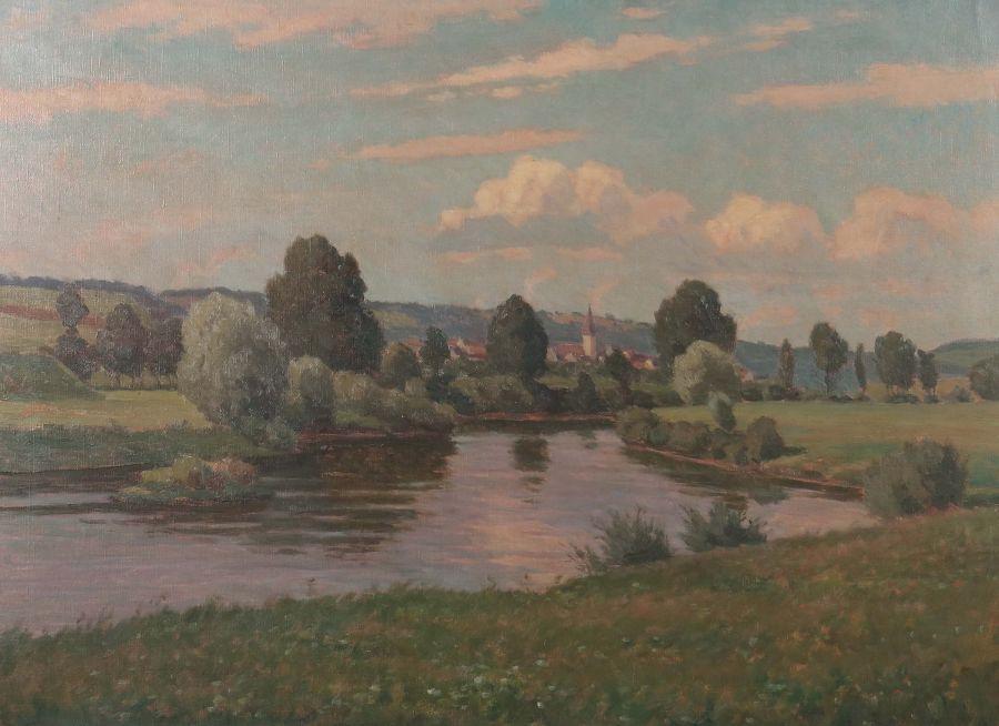 "Los 2717 - Wunderlich, Albert 1876 - 1949, war Maler in Stuttgart. ""Neckarlandschaft mit Aldingen"", unten links"