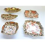 Five Royal Crown Derby trinket trays: Small salver – 5.25in, 1128-1976; Fan, 407, 1128-1922;