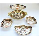 Five Royal Crown Derby trinket trays: Large salver – 7in, 6264-1901; Square, 3.25in, 2451-1937;