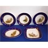 Three early 20th century Royal Worcester cabinet plates together with a similar square plate and