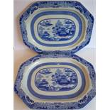 A rare pair of 19th century octagonal Spode ceramic meat platters; transfer-decorated in the