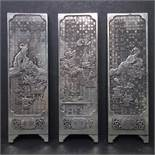 A Chinese Republic period miniature silver screen in three parts, depicting Chinese ladies and