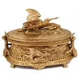 A late 19th French Napoleon III animalier bronze jewellery casket