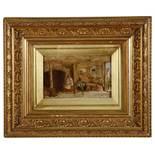 George Hardy (Brit. 1822-1909) 'Interior scene' oil on panel signed lower left 1839, framed