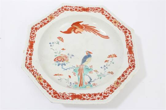 18th century Chelsea Kakiemon palette octagonal dish with