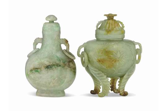 A Mughal Style Jadeite Censer And Cover And A Jadeite Vase And Cover