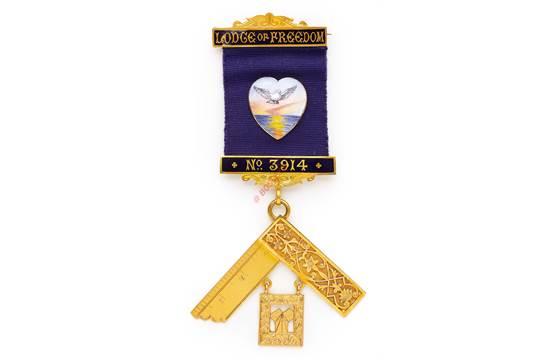 Masonic 18ct Gold Worshipful Master's Jewel Lodge of Freedom Lodge