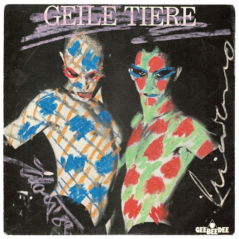 """Los 306 - Salomé (Karlsruhe 1954 – lebt in Berlin)Single """"Geile Tiere"""" – Übermalung zusammen mit Luciano"""