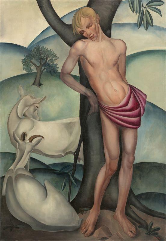 Jemmy van Hoboken (Den Haag 1900 – 1962 Wageningen)Heiliger Sebastian mit Ziegen. 1927Öl auf