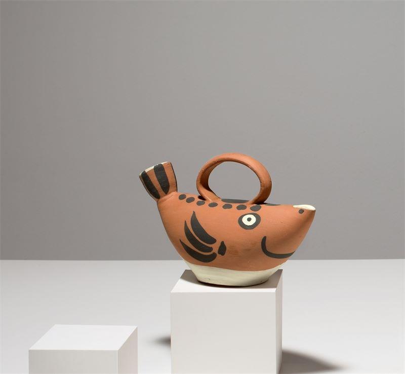 "Los 313a - Pablo Picasso (Málaga 1881 – 1973 Mougins)Krug ""Sujet poisson"". 1952Ton (roter Scherben),"