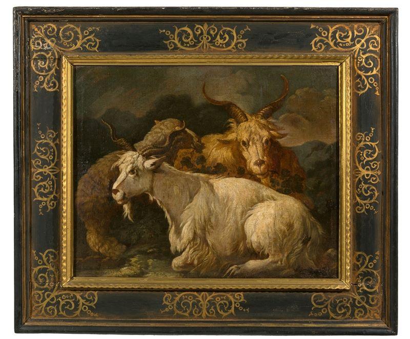 Los 346 - Philipp Peter Roos (genannt da Tivoli) (Sankt Goar 1657 – 1706 Tivoli)Zwei ruhende Ziegenböcke und