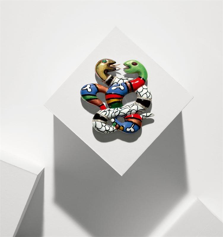 """Los 323 - Niki de Saint Phalle (Neuilly-sur-Seine 1930 – 2002 San Diego)Brosche """"Double Serpents"""". 198918"""