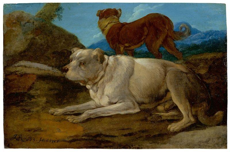 Los 345 - Johann Melchior Roos (Heidelberg 1663 – 1731 Frankfurt am Main)Zwei Hunde in felsiger Landschaft.